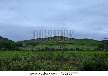 Hills and highlands on the Isle of Skye of Scotland.