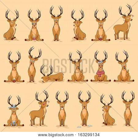 Set Vector Stock Illustrations isolated emoji character cartoon deer stickers emoticons with different emotions for site, info graphics, video, animation, website, newsletter, reports, comics
