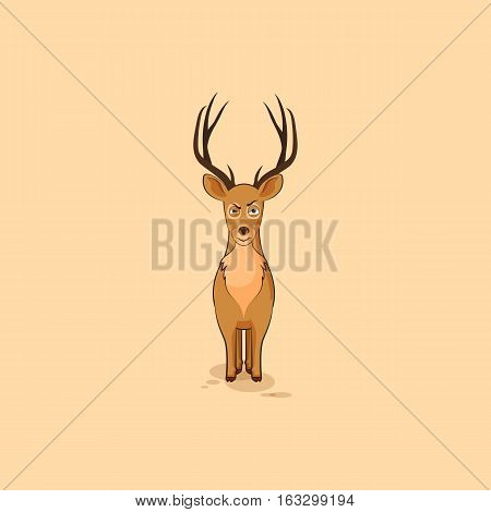 Vector Stock Illustration isolated Emoji character cartoon deer sticker emoticon with angry emotion for site, info graphics, video, animation, websites, e-mails, newsletters, reports, comics