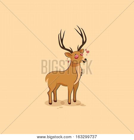 Vector Stock Illustration isolated emoji character cartoon deer in love flying with hearts sticker emoticon for site, info graphics, video, animation, websites, mail, newsletter, report, comic