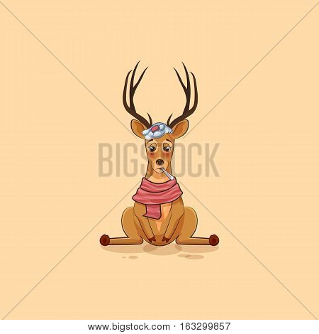 Vector Stock Illustration isolated emoji character cartoon deer sick with thermometer in mouth sticker emoticon for site, info graphics, video, animation, website, mail, newsletters, reports