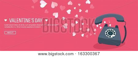 Vector illustration. Flat background with retro telephone. Love, hearts. Valentines day. Be my valentine. 14 february. Message.