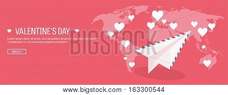 Vector illustration. Flat background with envelope, paper plane. Love, hearts. Valentines day. Be my valentine. 14 february. Message.