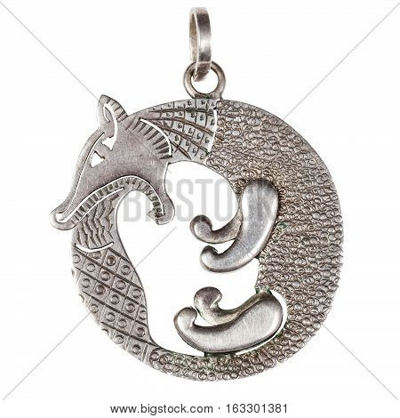 hand made stylized silver jewelry pendant - fox biting its tail Scythian style isolated on white background poster