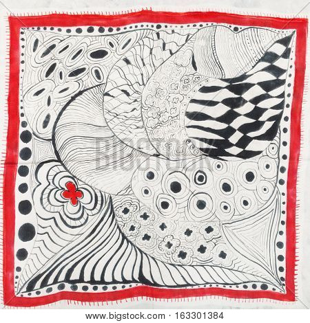 Abstract Pattern With Red Flower On Head Scarf