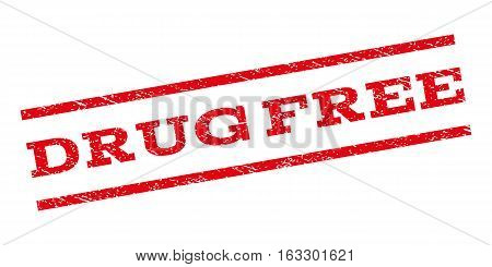 Drug Free watermark stamp. Text caption between parallel lines with grunge design style. Rubber seal stamp with scratched texture. Vector red color ink imprint on a white background.