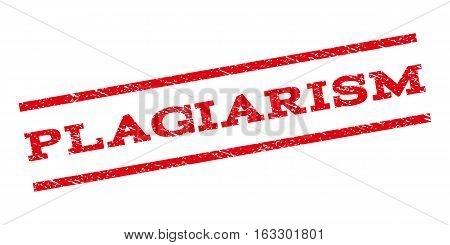 Plagiarism watermark stamp. Text caption between parallel lines with grunge design style. Rubber seal stamp with dust texture. Vector red color ink imprint on a white background.