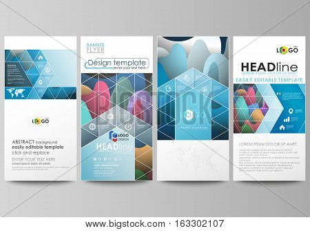 Flyers set, modern banners. Business templates. Cover design template, easy editable abstract flat layouts, vector illustration. Bright color pattern, colorful design with overlapping shapes forming abstract beautiful background.