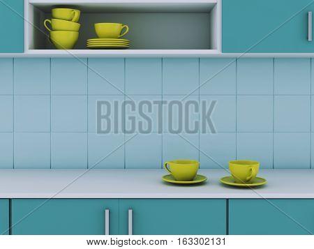 Modern kitchen design style. 3 d render
