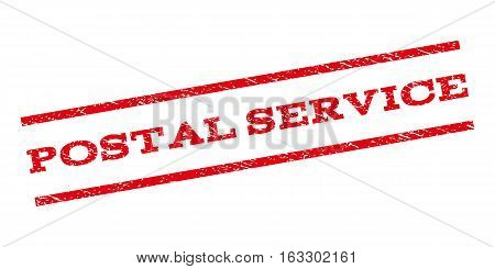 Postal Service watermark stamp. Text caption between parallel lines with grunge design style. Rubber seal stamp with dirty texture. Vector red color ink imprint on a white background.