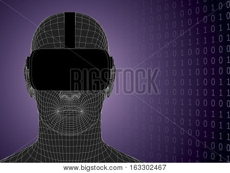 Futuristic Human Head Wearing Vr Headset Front View