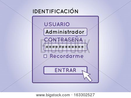 Authentication Screen To Enter In An Spanish Account