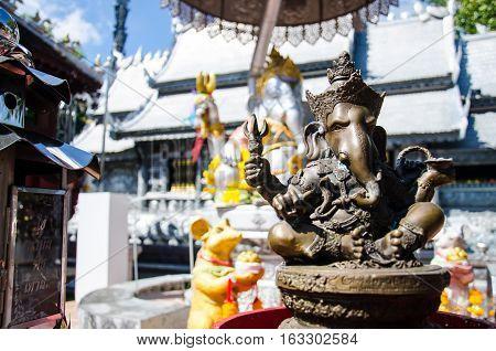 Close up Ancient Bronze Statue Ganesha Hindu God of Elephan Lord of Sucess at Chiang Mai Thailand