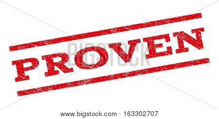Proven watermark stamp. Text tag between parallel lines with grunge design style. Rubber seal stamp with dirty texture. Vector red color ink imprint on a white background.