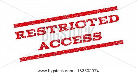 Restricted Access watermark stamp. Text tag between parallel lines with grunge design style. Rubber seal stamp with scratched texture. Vector red color ink imprint on a white background.