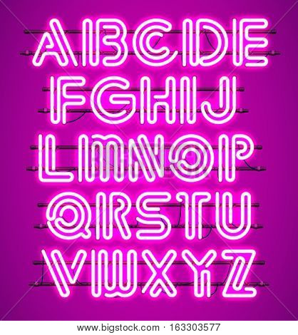 Glowing purple Neon Alphabet with letters from A to Z. Shining and glowing neon effect. Every letter is separate unit with wires tubes brackets and holders.