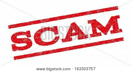 Scam watermark stamp. Text tag between parallel lines with grunge design style. Rubber seal stamp with scratched texture. Vector red color ink imprint on a white background.