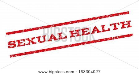 Sexual Health watermark stamp. Text tag between parallel lines with grunge design style. Rubber seal stamp with unclean texture. Vector red color ink imprint on a white background.