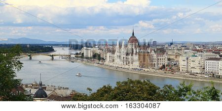 City of Budapest - View from Fisherman's Bastion looking northeast along the Danube River, Budapest, Hungary.