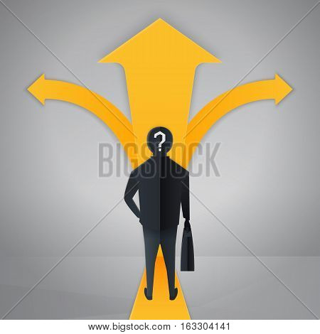 Businessman standing at a crossroads, vector graphics, eps 10