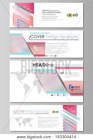 Social media and email headers set, modern banners. Business templates. Easy editable abstract design template, vector layouts in popular sizes.