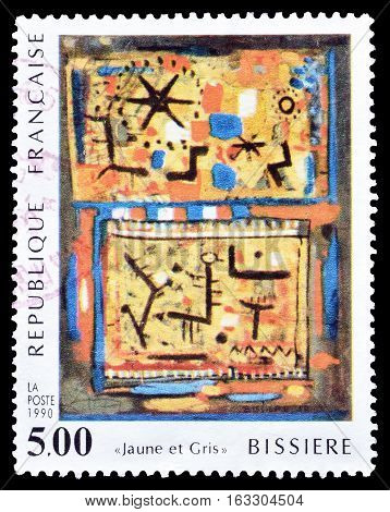 FRANCE - CIRCA 1990 : Cancelled postage stamp printed by France, that shows Painting by Roger Bissiere.
