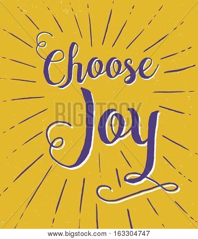 Choose Joy Calligraphy Typography Poster Design with Purple and white type  and light rays on gold background