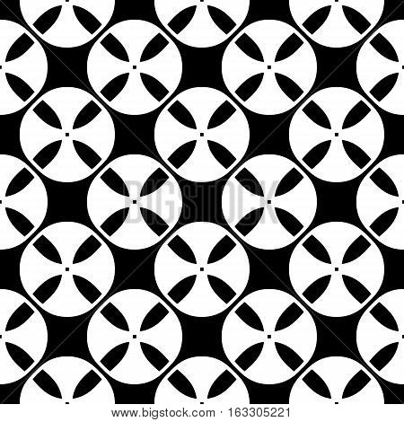 Vector seamless pattern, black & white abstract geometric texture. Simple monochrome illustration of tapes. Endless repeat background. Design element for prints, textile, digital, package, decoration, furniture, cloth