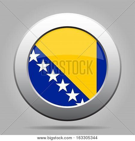 National flag of Bosnia and Herzegovina. Shiny metal gray round button with shadow.