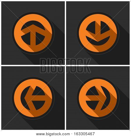 Four orange round. Black arrows in four directions with shadows on a dark gray background.
