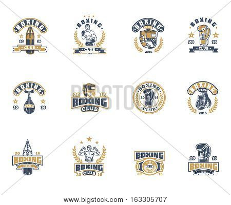 Set of vector boxing emblems, badges, stickers isolated on white.