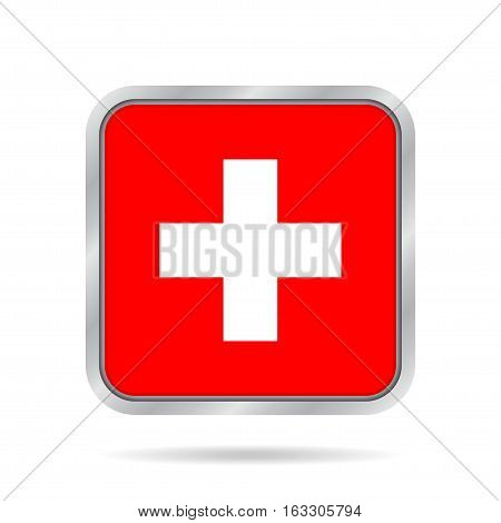 National flag of Switzerland. Shiny metallic gray square button with shadow.