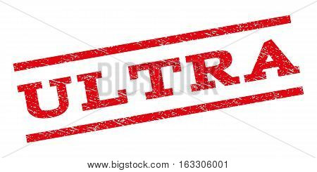 Ultra watermark stamp. Text tag between parallel lines with grunge design style. Rubber seal stamp with dirty texture. Vector red color ink imprint on a white background.