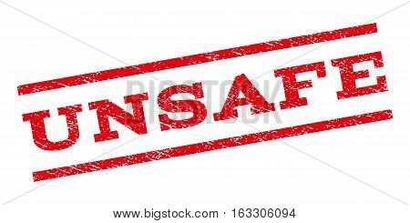 Unsafe watermark stamp. Text caption between parallel lines with grunge design style. Rubber seal stamp with dirty texture. Vector red color ink imprint on a white background.