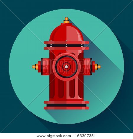 Red fire hydrant Vector icon for video, mobile apps