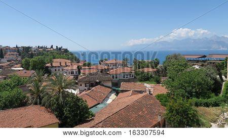 Antalyas Oldtown Kaleici, the Mediteranian Sea and the Taurus Mountains