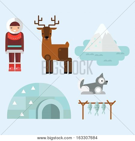 Alaska state symbols flat style. Abstract tessellation modern design. Vector america travel animal national geographic. Outdoor cartography wildlife north concept.
