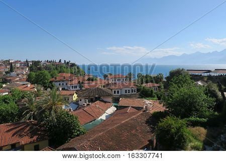 View from Antalyas Oldtown Kaleici at the Mediteranian Sea and the Taurus Mountains