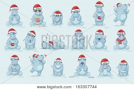 Set Vector Stock Illustrations isolated Emoji character cartoon Hippopotamus stickers emoticons with different emotions in the cap of Santa Claus for the greetings Merry Christmas and Happy New Year.