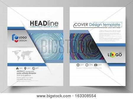 Business templates for brochure, magazine, flyer, booklet or annual report. Cover design template, easy editable vector, abstract flat layout in A4 size. Blue color background in minimalist style made from colorful circles.