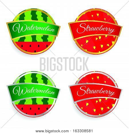 Label Of Fruit Watermelon And Strawberry Design Set Illustration In Colorful