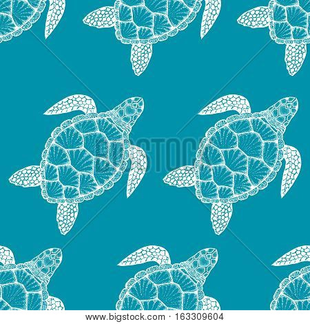 Seamless pattern with sea turtle in line art style. Hand drawn vector illustration. Top view. Design for coloring book. Ocean elements
