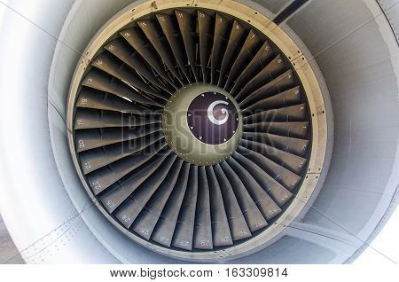 Close Up of Aeroplane Engine.Aeroplane Engine is key to make Aeroplane can fly.The Number on the Fan Make Engineering easy to Check for Safety.