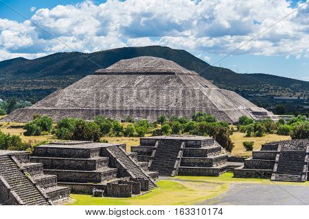 Pyramid of the Sun seen from Pyramid of the Moon on a sunny day in Teotihuacan near Mexico City Mexico.