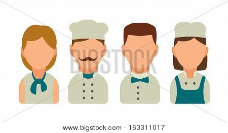 Set icon character cook. Waiter chef waitress. Vector flat illustration on white background.