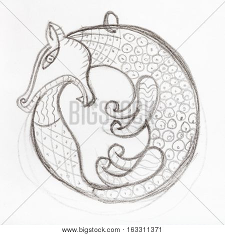 pendant sketch hand drawn by lead pencil - fox biting its tail in Scythian style