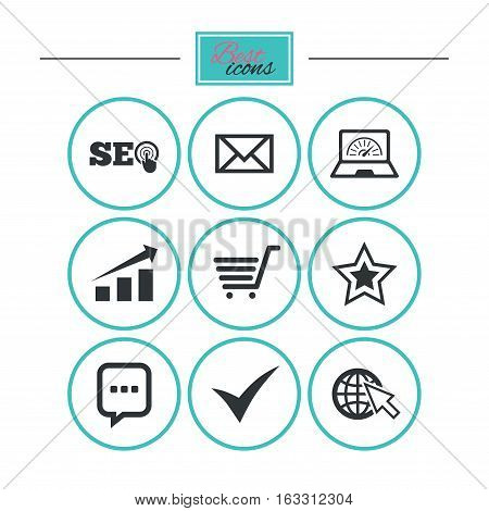 Internet, seo icons. Tick, online shopping and chart signs. Bandwidth, mobile device and chat symbols. Round flat buttons with icons. Vector