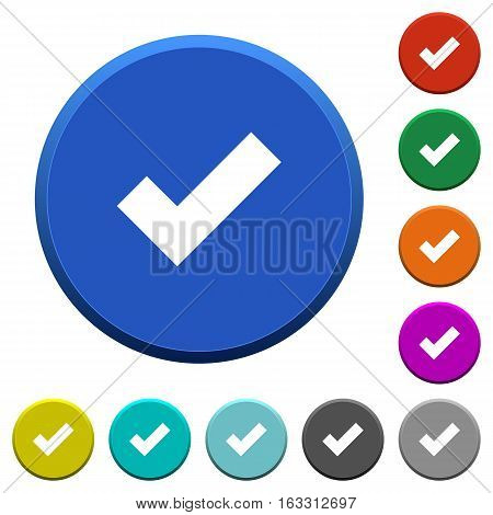 Ok round color beveled buttons with smooth surfaces and flat white icons