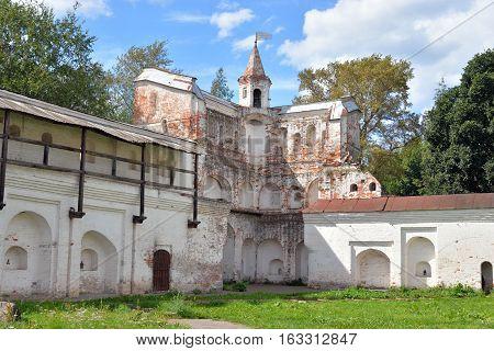 Ruin fortress wall in Vologda Kremlin Russia.
