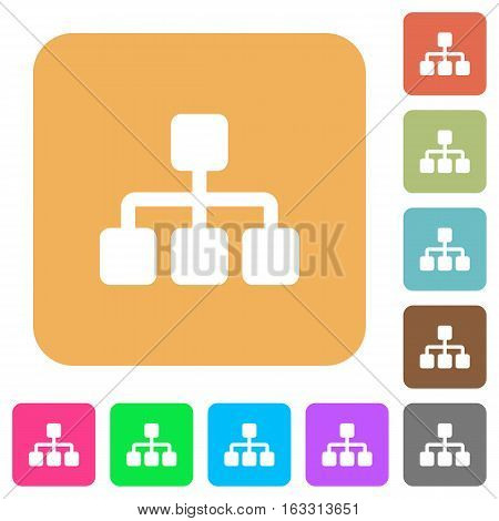 Network icons on rounded square vivid color backgrounds.